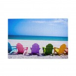 Beach Chairs On A Sunny Vacation puzzle, 1000 Piece Wooden Fun Jigsaw,Apply toAdult 75cm X 50cm