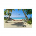Tropical Beach Hammock Hanging From Palm Trees puzzle, 1000 Piece Wooden Fun Jigsaw,Apply toAnniversary 75cm X 50cm