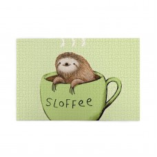 A Damned Adorable Sloth And Coffee puzzle, 1000 Piece Wooden Fun Jigsaw,Apply toKids as Birthday 75cm X 50cm