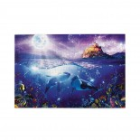 Whales In The Moonlight puzzle, 1000 Piece Wooden Fun Jigsaw,Apply toKids as Birthday 75cm X 50cm