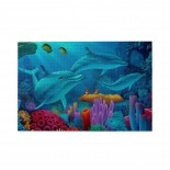 Dophins Fishes Coral Swim puzzle, 1000 Piece Wooden Fun Jigsaw,Apply toKids as Birthday 75cm X 50cm