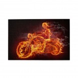 Fire Skeleton Skull Motorcycle puzzle, 1000 Piece Wooden Fun Jigsaw,Apply toAnniversary 75cm X 50cm
