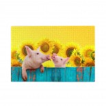 Funny Pigs Hanging On A Fence And Sunflowers puzzle, 1000 Piece Wooden Fun Jigsaw,Apply toKids as Birthday 75cm X 50cm